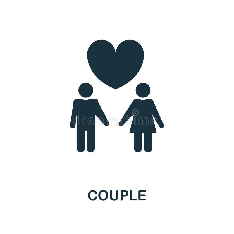 Kreative Ikone der Paare Einfache Elementillustration Verbinden Sie Konzeptsymbolentwurf von der Flitterwochensammlung Vervollkom vektor abbildung