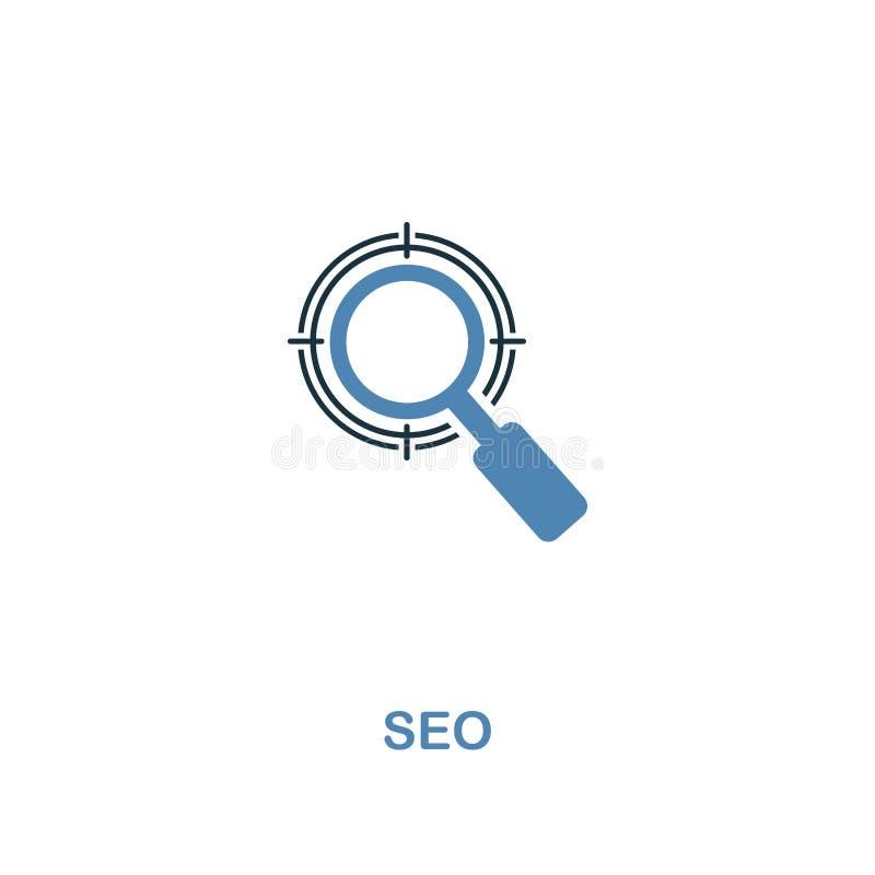 Kreative Ikone Seo in zwei Farben Erstklassiger Artentwurf von der Web-Entwicklungs-Ikonensammlung Seo-Ikone für Webdesign, mobil vektor abbildung