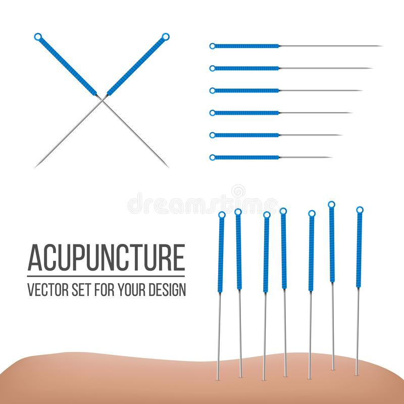 Kreative Illustration der Akupunkturtherapie lokalisiert auf transparentem Hintergrund Kunstdesignbadekuren Abstraktes concep stock abbildung