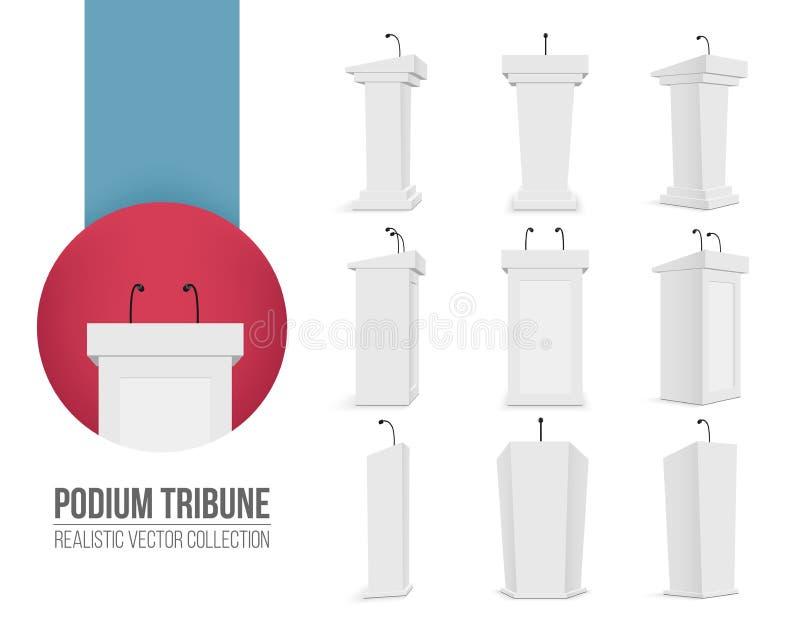 Kreative Illustration der Podiumtribüne mit den Mikrophonen lokalisiert auf transparentem Hintergrund Kunstdesign-Podiumsstände a vektor abbildung