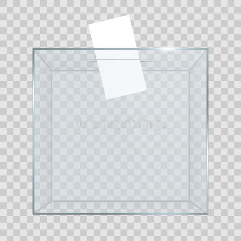 Kreative Illustration der realistischen leeren transparenten Wahlurne mit Abstimmungspapier im Loch lokalisiert auf Hintergrund K vektor abbildung