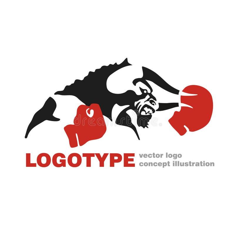 Kreative Illustration der Stier-Boxhandschuhvektorlogo-Schablone Stier-Zahl Zeichen Kämpferikone Eignungssportsymbol vektor abbildung
