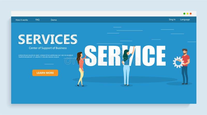 Kreative Illustration des Vektors der Dienstleistung Leutegestalt Bürosituationen Dieses ist Datei des Formats EPS10 Auch im core stock abbildung