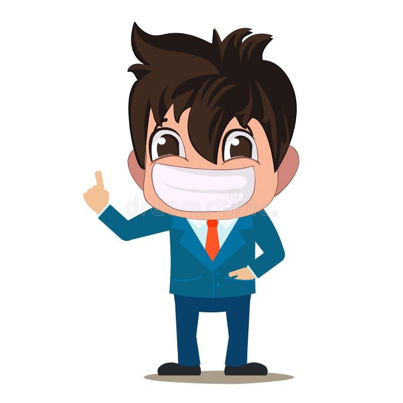 Kreative Illustration des Vektors des Geschäftsmannes Der Manager ist in einer Klage Suchen Sie nach einem neuen Manager im Gesch stock abbildung
