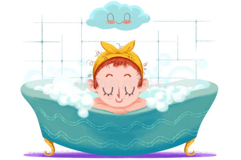 Kreative Illustration und innovative Kunst: Kleines Mädchen nimmt ein glückliches Bad in der Wanne stock abbildung