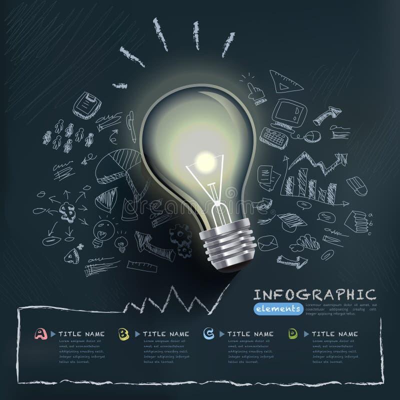 Kreative infographics Schablone mit Birne vektor abbildung