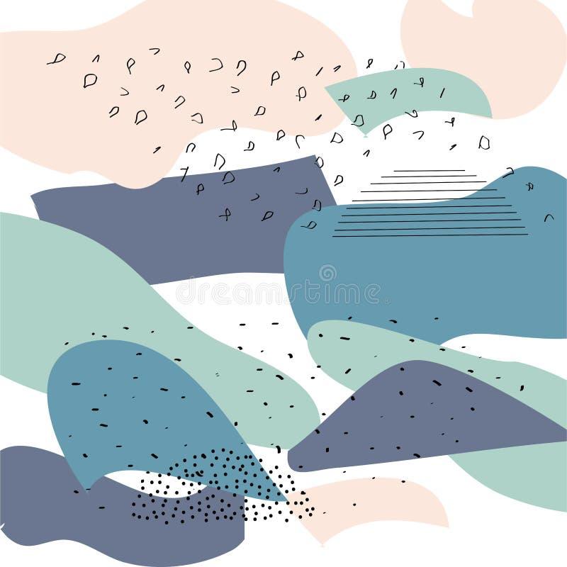 Kreative Karten mit abstrakten geometrischen Hintergr?nden Modische Hippie-Art Rosa, gr?ne Pastellfarben Zeitgenössische Collage stock abbildung