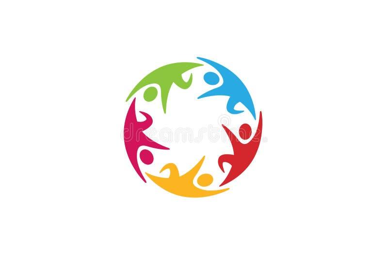 Kreative Kreis-Kinderhände, die Logo Design halten vektor abbildung