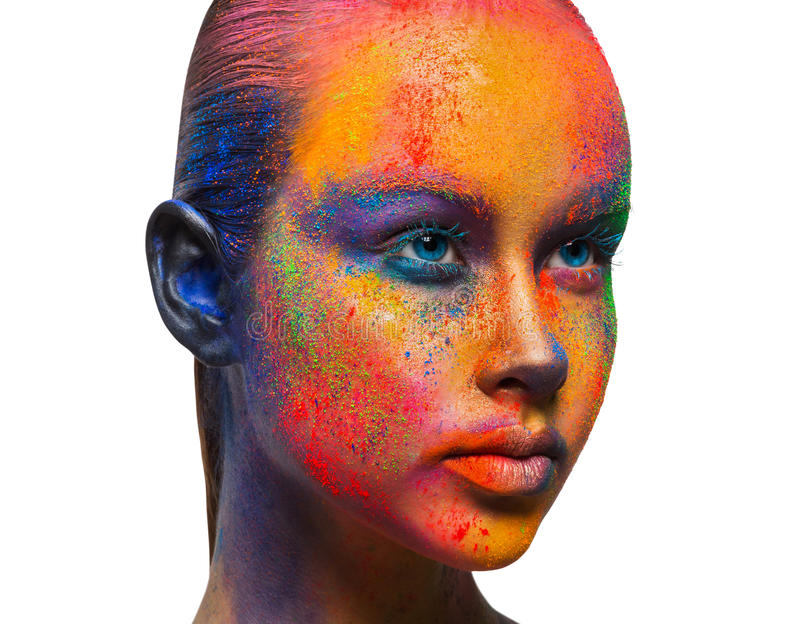 Kreative Kunst von bilden, Mode-Modell-Nahaufnahmeporträt lizenzfreie stockfotos