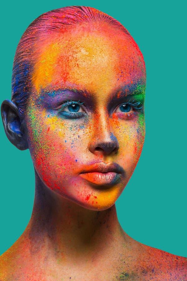Kreative Kunst von bilden, Mode-Modell-Nahaufnahmeporträt stockfotografie