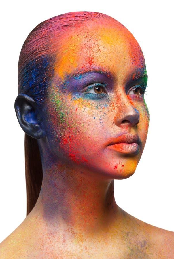 Kreative Kunst von bilden, Mode-Modell-Nahaufnahmeporträt stockfotos