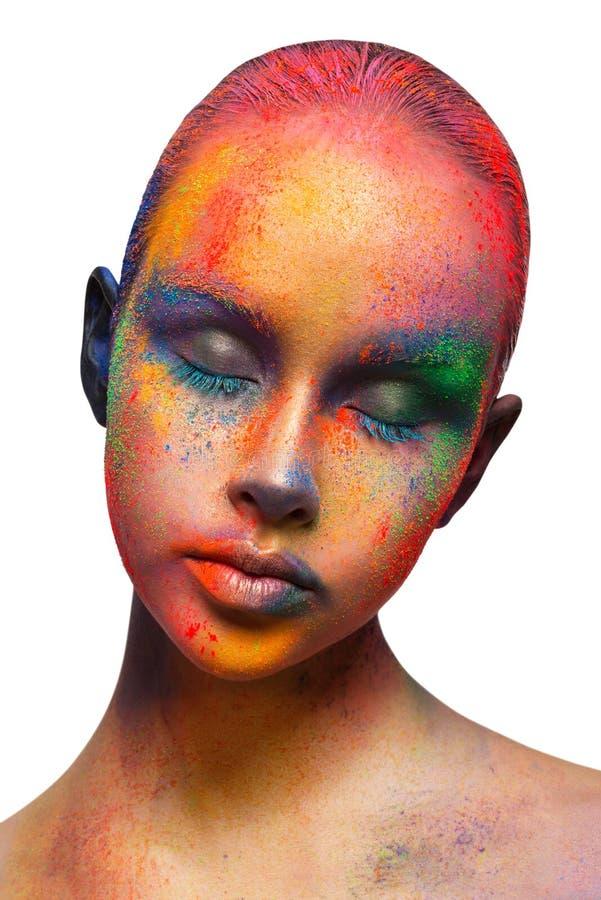 Kreative Kunst von bilden, Mode-Modell-Nahaufnahmeporträt lizenzfreie stockfotografie