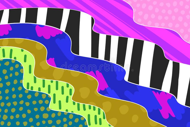 Kreative Kunsthintergrundhand gezeichnet in vibrierende Farben collage Vektor vektor abbildung