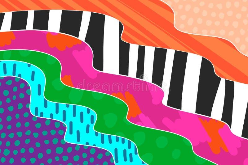 Kreative Kunsthintergrundhand gezeichnet in vibrierende Farben collage Vektor lizenzfreie abbildung