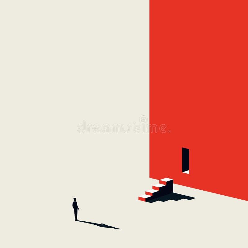 Kreative Lösung des Geschäfts, die Vektorkonzept mit dem Geschäftsmann schaut Schritte und Tür in der Wand findet Unbedeutendes k vektor abbildung