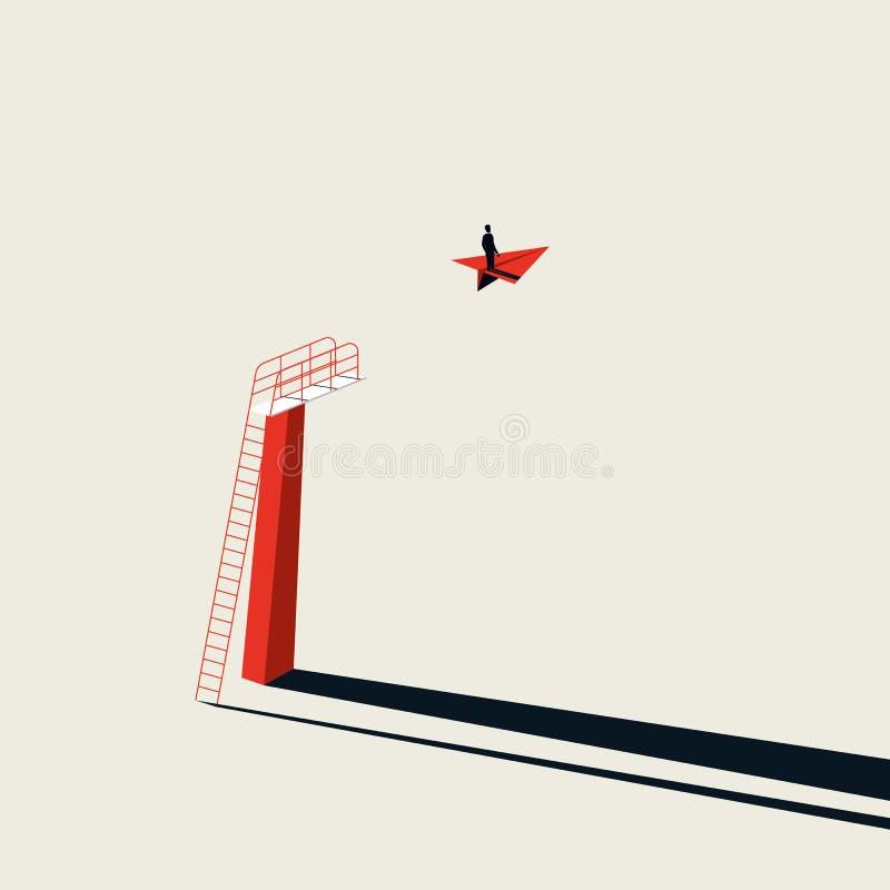 Kreative L?sung des Gesch?fts und Visionsvektorkonzept mit Gesch?ftsmannfliegen auf Papierflugzeug Unbedeutende Kunstart lizenzfreie abbildung
