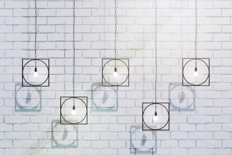 Kreative Lampen auf Backsteinmauer vektor abbildung