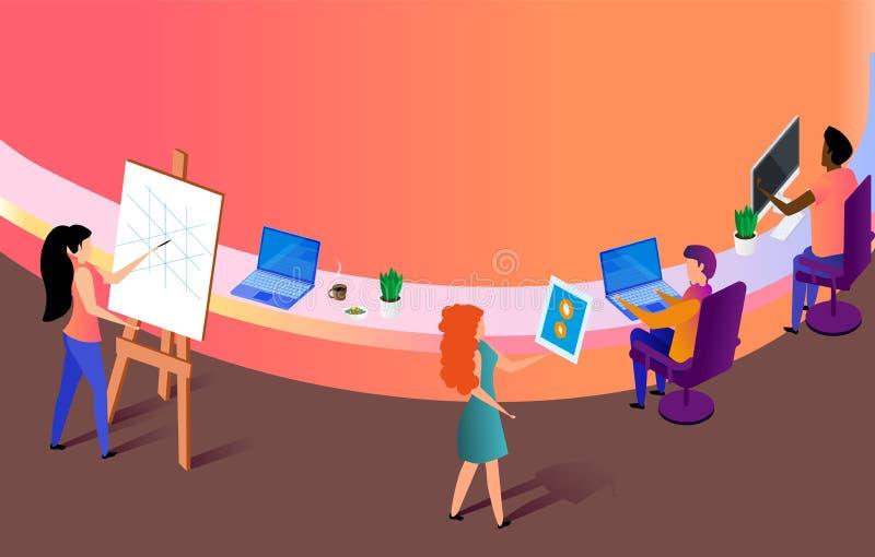 Kreative Leute, die Arbeit am Büro-Arbeitsplatz machen stock abbildung