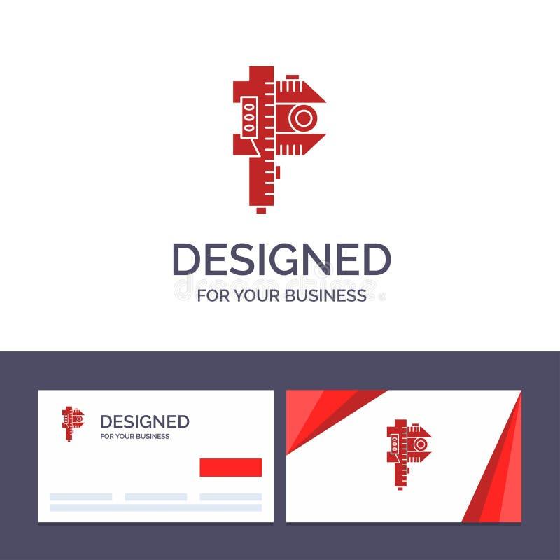 Kreative messende Visitenkarte- und Logoschablone, Genauigkeit, Maßnahme, kleine, kleine Vektor-Illustration lizenzfreie abbildung