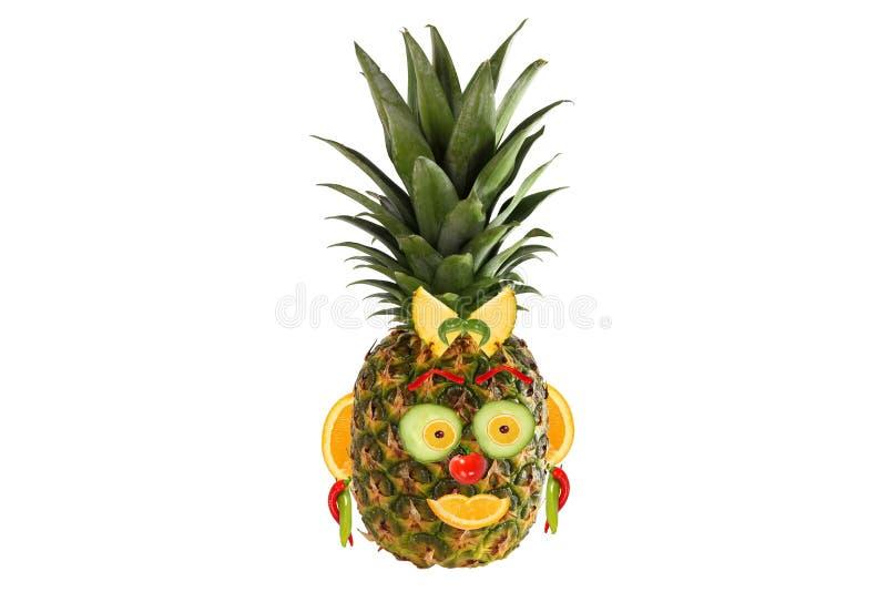 Kreative Nahrung Porträt gemacht vom Gemüse und von den Früchten vektor abbildung