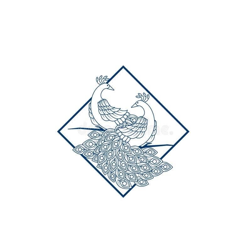 Kreative Pfaulogo-Designschablone Pfau-Logo Illustration With-Linie Kunst Luxusart Dekorativer Vogel der Vektorillustration lizenzfreie abbildung