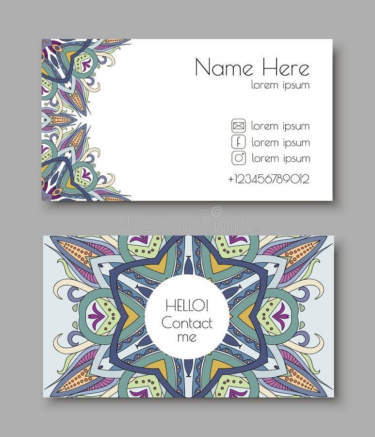 Kreative Schablone für Designer, Fotografen oder Studio Vector editable Muster mit Besuchskarten der vorderen und Rückseite stockfoto