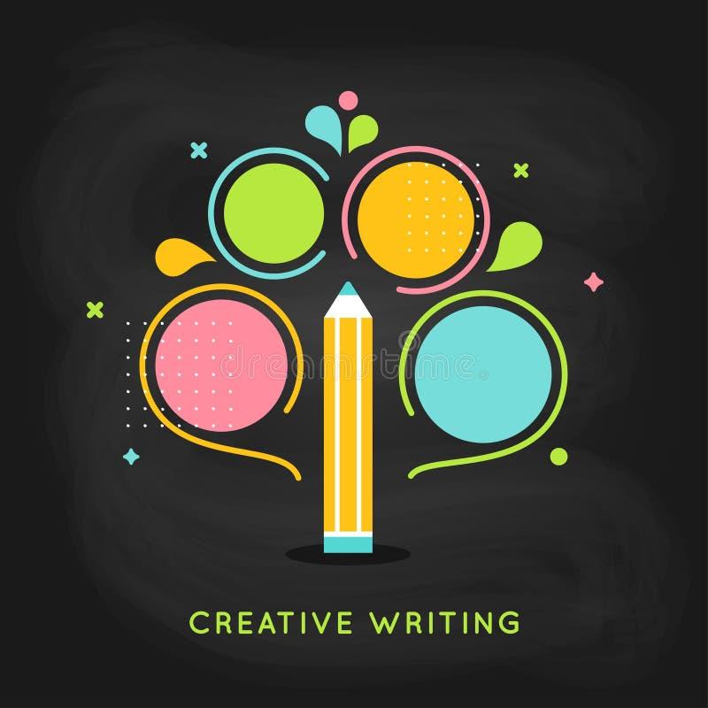 Kreative Schreibens-Plan Infographics-Schablone auf Tafel-Hintergrund lizenzfreie abbildung