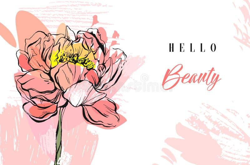 Kreative strukturierte Collage der handgemachten Vektorfrühlings-Zusammenfassung mit der Pfingstrosenblume, den freihändigen Besc lizenzfreie abbildung