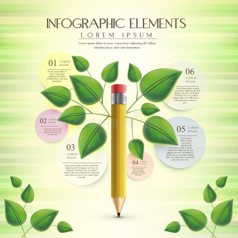 Kreative und Ökologieschablone mit Bleistiftelement lizenzfreie abbildung