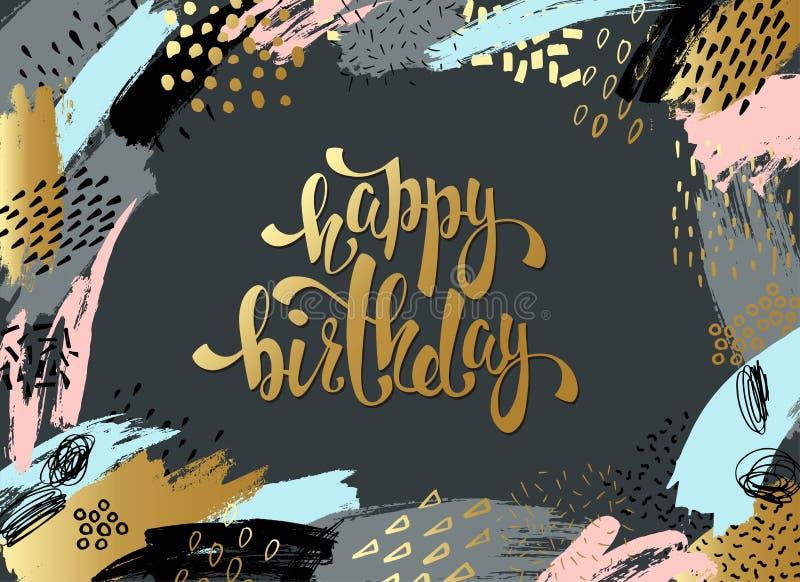 Kreative Universalkarte, Hintergrund mit Hand gezeichneten Beschaffenheiten Vector Kunstrahmen für Text mit Gold und Schwarzem lizenzfreie abbildung
