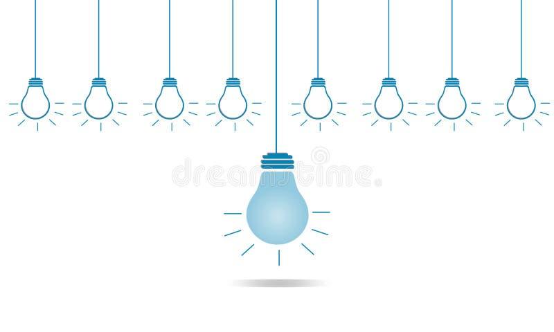 Kreative unterschiedliche Birne der Führung im Geschäftskonzept stockfotografie