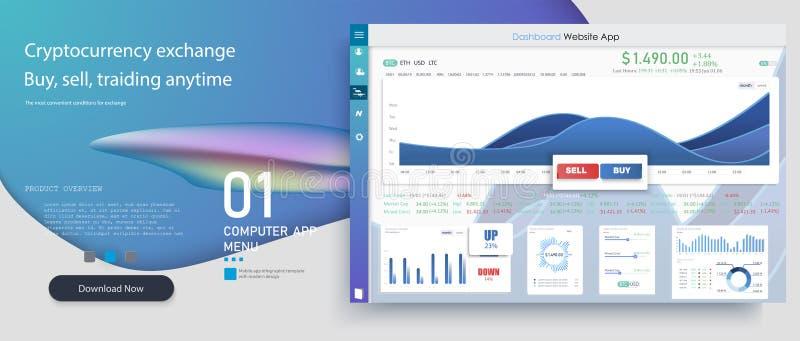 Kreative Vektorillustration der infographic Schablone des Netzarmaturenbrettes On-line-Statistiken und Daten Analytik Markthandel stock abbildung