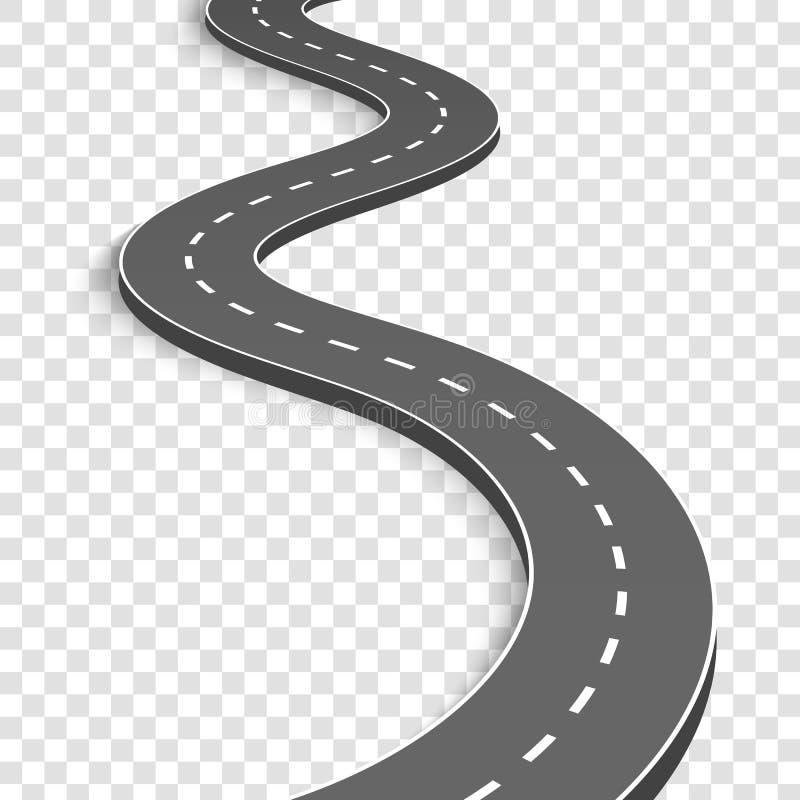 Kreative Vektorillustration der Wicklung gebogenen Straße Lokalisiert auf weißem Hintergrund Landstraße mit Markierungen Richtung stock abbildung