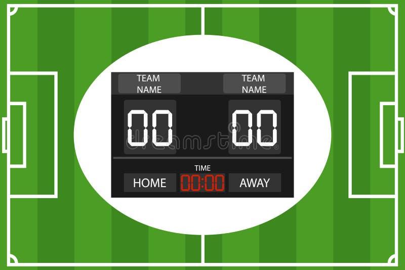 Kreative Vektorillustration des Fußballs, mechanische Anzeigetafel des Fußballs Elektronische Sportanzeigetafel des Stadions mit  vektor abbildung