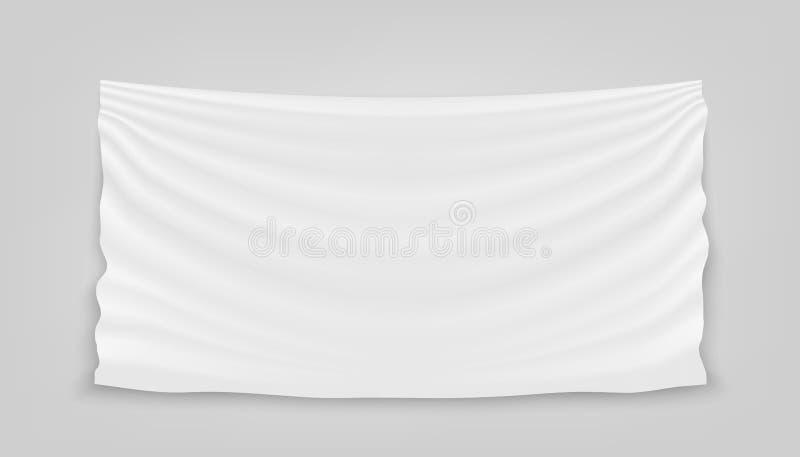 Kreative Vektorillustration des Hängens des leeren weißen Stoffes lokalisiert auf Hintergrund Kunstdesignfahnen-Gewebegewebe mit  lizenzfreie abbildung