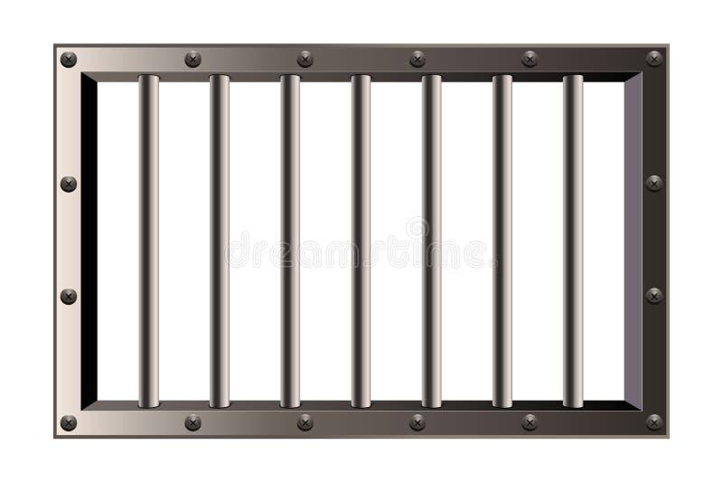 Kreative Vektorillustration des Metallrealistischen ausführlichen Gefängnisses hält das Fenster ab, das auf transparentem Hinterg stock abbildung