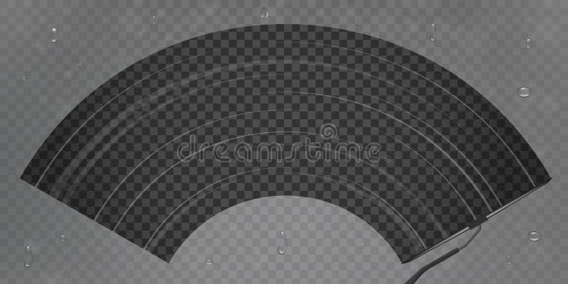 Kreative Vektorillustration des realistischen Autowindfang-Abwischenglases, Wischer säubert die Windschutzscheibe, die auf transp vektor abbildung