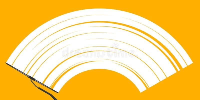 Kreative Vektorillustration des realistischen Autowindfang-Abwischenglases, Wischer säubert die Windschutzscheibe, die auf transp lizenzfreie abbildung