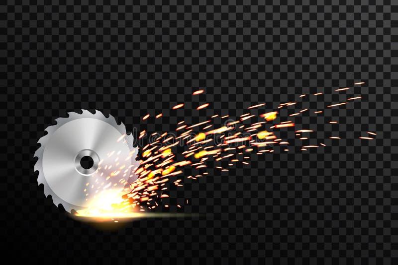 Kreative Vektorillustration des Rundschreibens Sägeblatt für Holz, Metallarbeit mit schweißendes Metallfeuer funkt an lokalisiert lizenzfreie abbildung