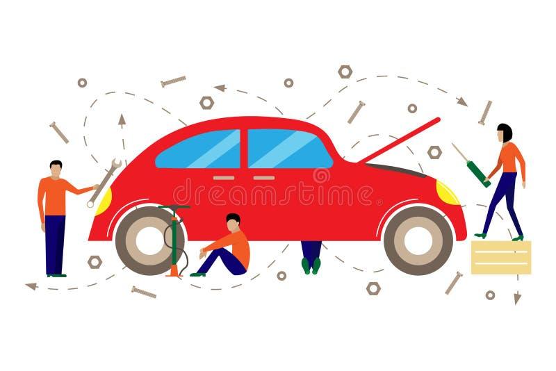 Kreative Vektorillustration des Services für Reparatur von Autos lizenzfreie abbildung