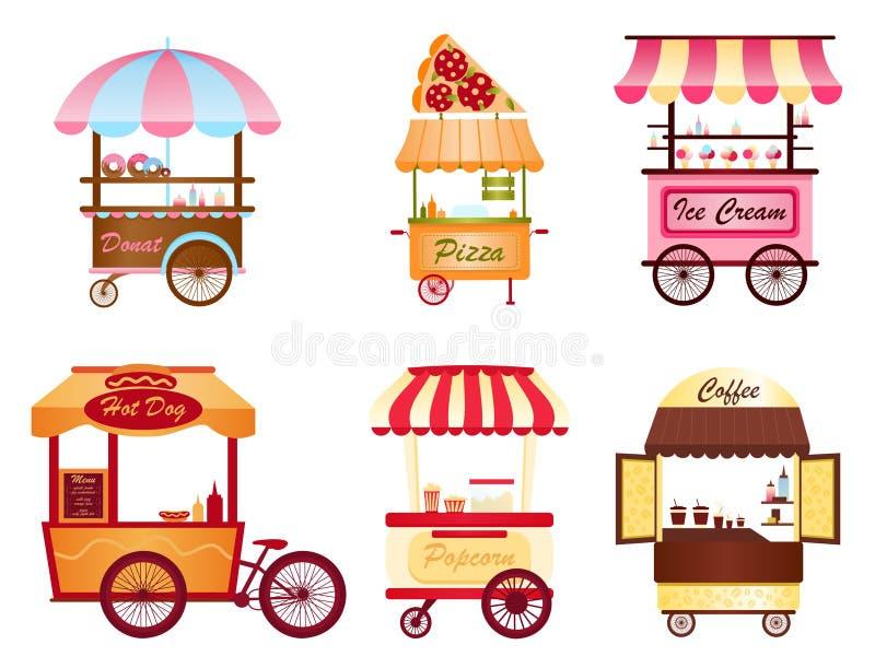 Kreative Vektorillustration des Straßenkaffeewarenkorb-, -popcorn- und -Hotdogshops, der Pizza, der Eiscreme und des Donut-Shops  stock abbildung