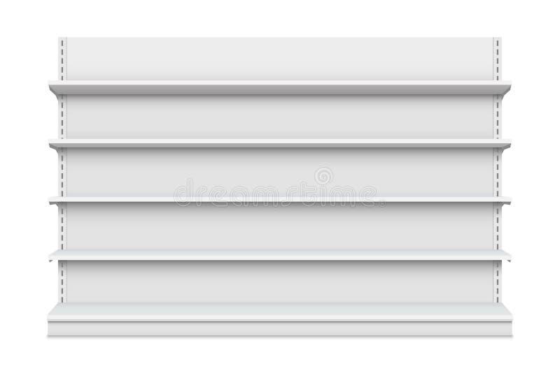 Kreative Vektorillustration von den leeren Ladenregalen lokalisiert auf Hintergrund Kleinregalkunstdesign Grafische Show des abst lizenzfreie abbildung