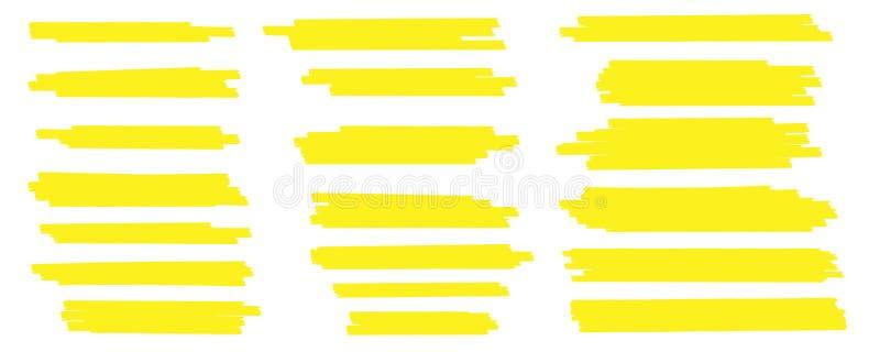Kreative Vektorillustration von Fleckanschlägen, Hand gezeichnete gelbe Höhepunktjapan-Markierung zeichnet, bürstet die lokalisie lizenzfreie abbildung