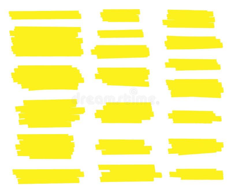 Kreative Vektorillustration von Fleckanschlägen, Hand gezeichnete gelbe Höhepunktjapan-Markierung zeichnet, bürstet die Streifen, stock abbildung