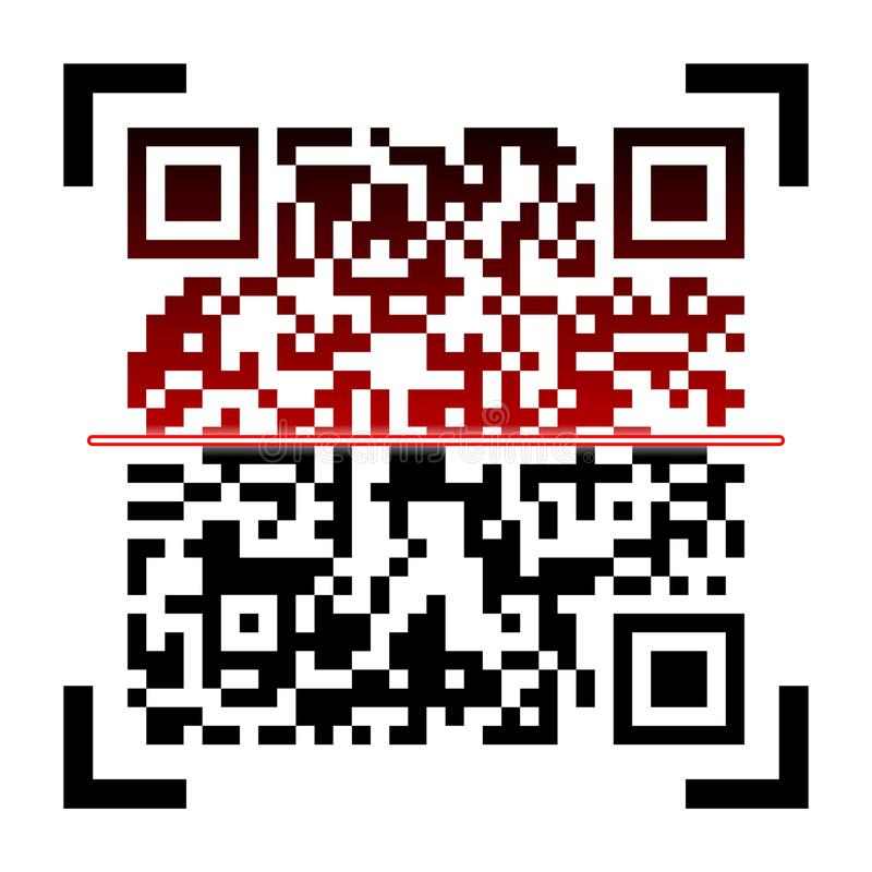 Kreative Vektorillustration von QR-Codes, Verpackenaufkleber, Strichkode auf Aufklebern Identifizierungsproduktscan-Daten herein vektor abbildung
