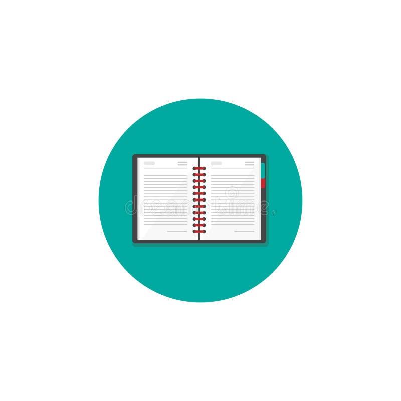 Kreative Verfasserarbeitsplatzikone Anmerkungsbuch im Türkiskreis werbetexter lizenzfreie abbildung