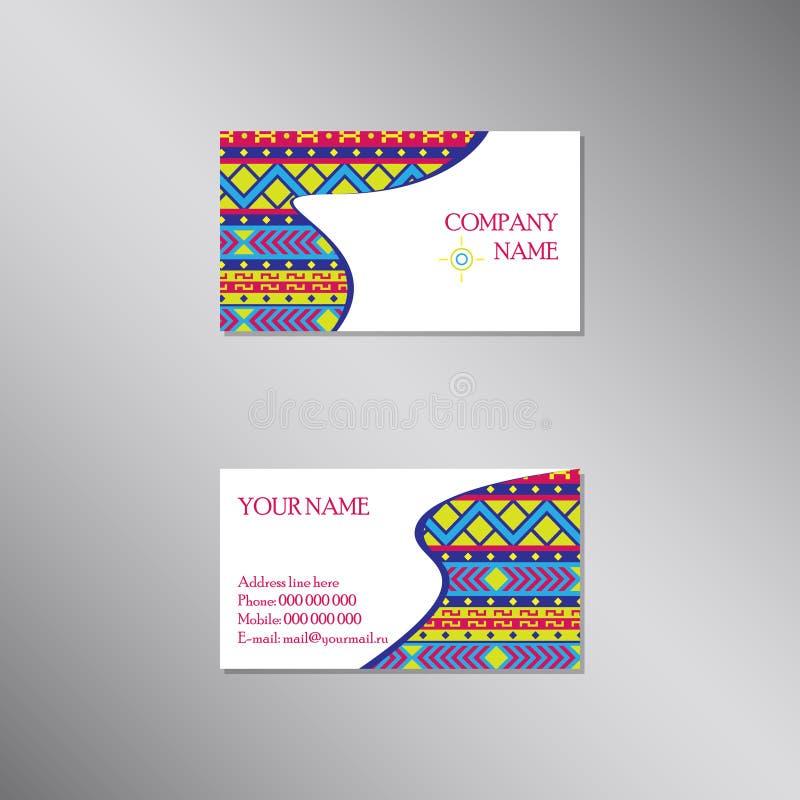 Kreative Visitenkarte mit heller traditioneller Verzierung lizenzfreie abbildung