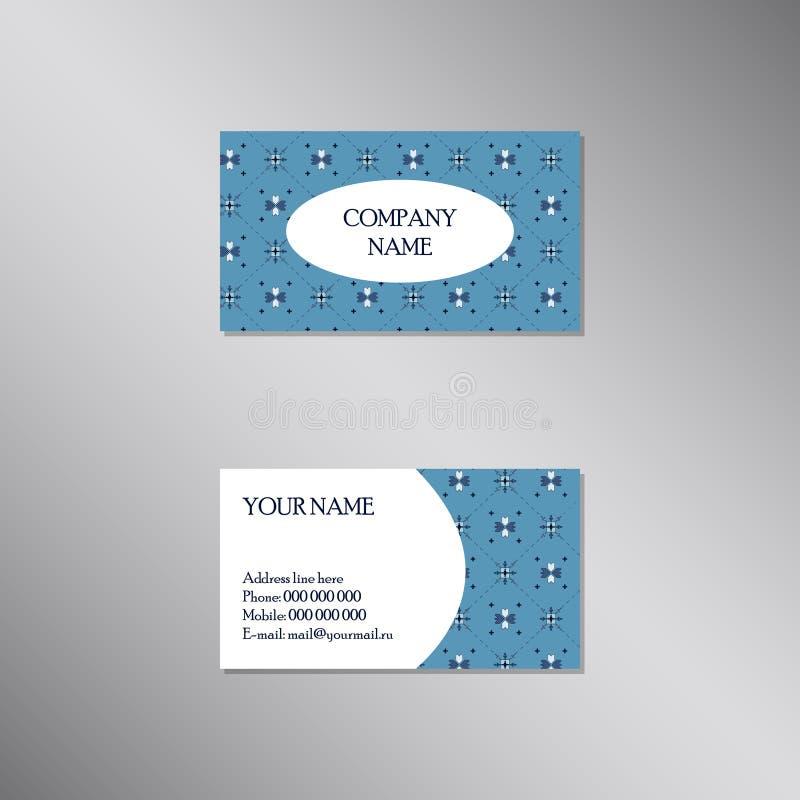 Kreative Visitenkarte mit traditioneller blauer Verzierung vektor abbildung