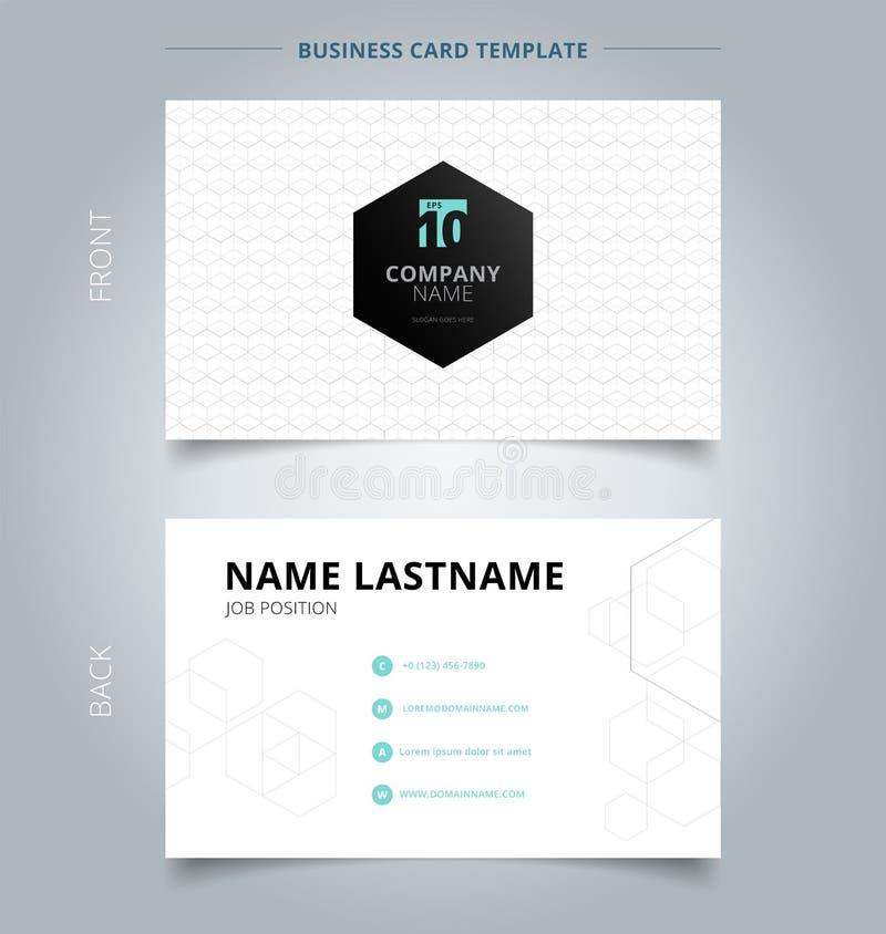 Kreative Visitenkarte und geometrisches Weiß der Namenkartenschablone, g lizenzfreie abbildung