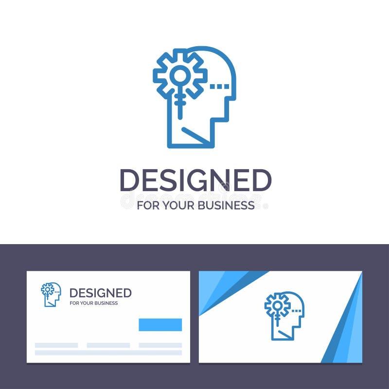 Kreative Visitenkarte- und Logoschablone Analytics, kritisch, menschlich, Informationen, Vektor-Illustration verarbeitend stock abbildung